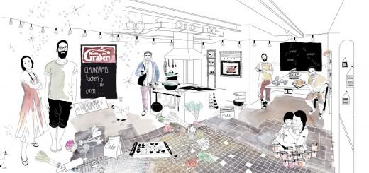 illustration küche am graben
