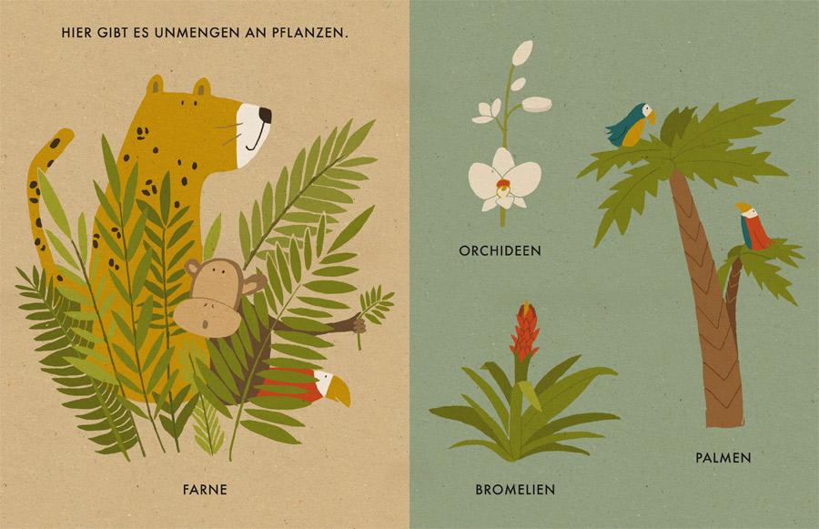 Katrin Wiehle erzählt in »Mein kleiner Dschungel« vom wilden Leben im Dschungel – auf unnachahmliche Weise und auf Karton aus 100 % Recyclingpapier. Bild: Beltz & Gelberg
