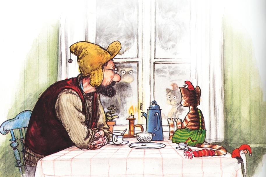 """Auf FSC-Papier gedruckt: der Kinderbuchklassiker """"Pettersson & Findus"""". Bild: Sven Nordqvist, »Pettersson kriegt Weihnachtsbesuch« © Verlag Friedrich Oetinger, Hamburg, ISBN 978-3-7891-6174-2"""