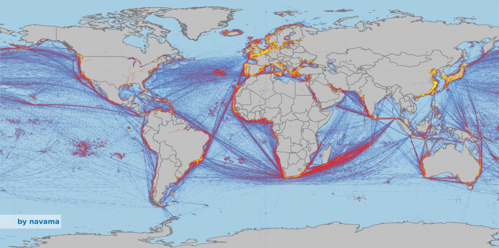 Der weltweite Schiffsverkehr im Januar 2015. Die gelben Linien zeigen einen sehr dichten Verkehr, die roten Verkehrslinien eine mittlere Dichte und blaue Linien eine sehr niedrige Verkehrsdichte an.