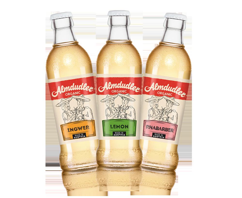 Bio, vegan und mit stolzem 'Made in Austria' durchaus auch für den Export gedacht: Almdudler Organic Ingwer, Almdudler Organic Lemon und Almdudler Organic Rhabarber.